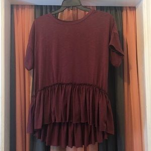 Burgundy Ruffle High-Low Top